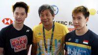 Pasangan ganda putra Indonesia, Kevin Sanjaya Sukamuljo/Marcus Fernaldi Gideon, dan pelatih Herry Iman Pierngadi. (Ist)