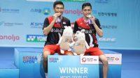 Pasangan ganda putra Indonesia, Fajar Alfian / Muhammad Rian Ardianto berhasil meraih gelar juara Korea Open 2019 di Incheon Airport Skydome, Incheon, Korea Selatan, Minggu (29/9/2019). [Dok. PBSI]