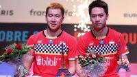 Pasangan ganda putra Indonesia, Kevin Sanjaya Sukamuljo / Marcus Fernaldi Gideon menjuarai French Open 2019. [Humas PBSI]