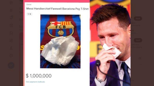 Tisu Bekas Usap Air Mata Lionel Messi