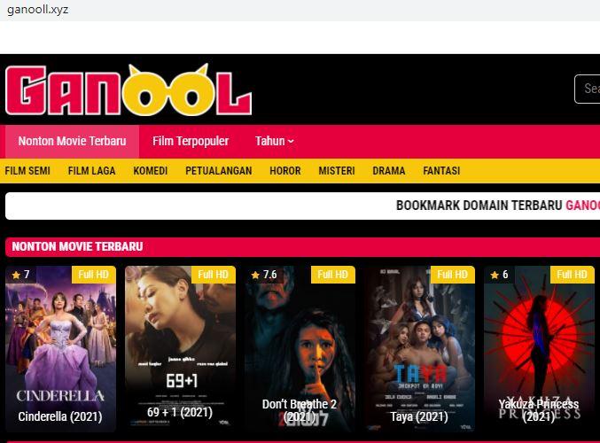 Capture salah satu situs nonton dan download film terbaru sub indo